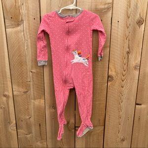 Carter's size 2T unicorn polka dot footie pajamas